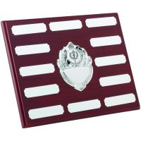 Rosewood Plaque Chrome Fronts 12 Plates 7 X 9in