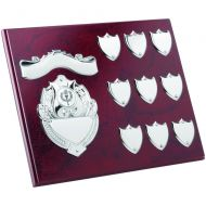 Rosewood Plaque Chrome Fronts 9 Record Shield Trophy Awards 8 X 10in