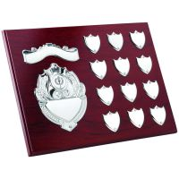 Rosewood Plaque Chrome Fronts 12 Record Shield Trophy Awards 9 X 12in