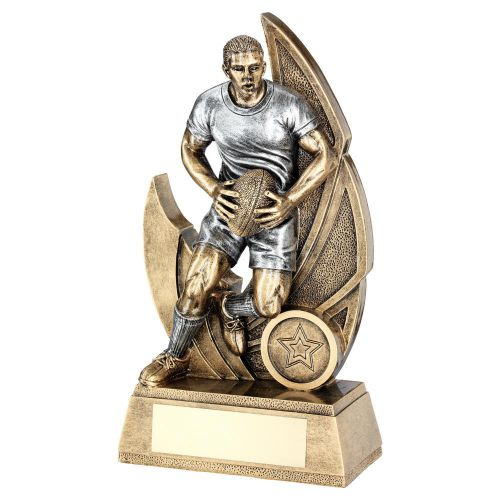Bronze Pewter Male Rugby Figure On Backdrop Trophy Award 6in : New 2020
