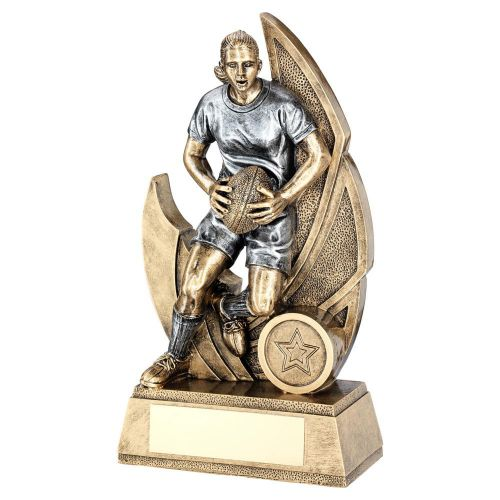 Bronze Pewter Female Womens Rugby Figure On Backdrop Trophy Award 7.25in : New 2020