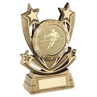 Bronze Gold Shooting Star Series with Rugby Insert Trophy Award 6in : New 2020