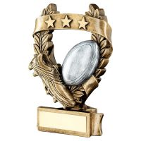 Bronze Pewter Gold Rugby 3 Star Wreath Award Trophy 6.25in - New 2019
