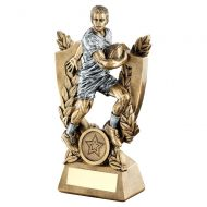 Bronze Pewter Male Rugby On Shield Trophy Award And Wreath Trophy 6.75in - New 2019
