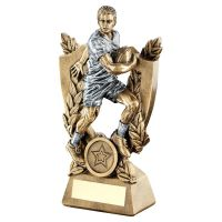 Bronze Pewter Male Rugby On Shield Trophy Award And Wreath Trophy 8in - New 2019