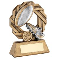Bronze Pewter Gold Rugby Octo Ribbon Series Trophy Award 7.5in : New 2020