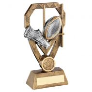Bronze Pewter Gold Rugby Boot and Ball with Posts On Diamond Trophy Award 8in : New 2020