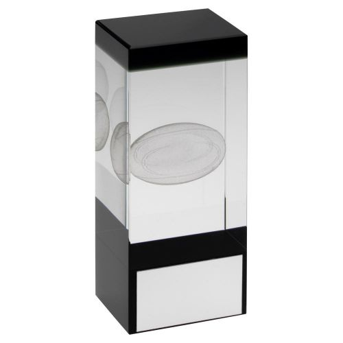 Clear Black Glass Block with Lasered Rugby Image Trophy Award 5.5in : New 2020