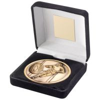 Black Velvet Box And 70mm Medallion Rugby Trophy - Antique Gold - 4in