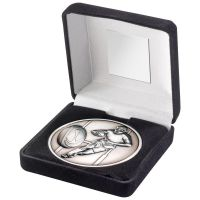Black Velvet Box And 70mm Medallion Rugby Trophy - Antique Silver - 4in