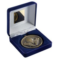 Blue Velvet Box And 60mm Medal Rugby Trophy Antique Gold 4in - New 2019