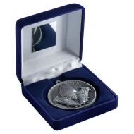 Blue Velvet Box And 60mm Medal Rugby Trophy Antique Silver 4in - New 2019