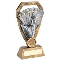 Bronze Pewter Gold Cards In Hand On Diamond Trophy Award 6in : New 2020