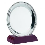Silver Plated Rope Salver On Wooden St 8.25in