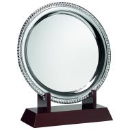 Silver Plated Rope Salver On Wooden St 9.5in