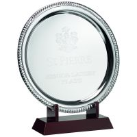 Silver Plated Rope Salver On Wooden St 13.75in
