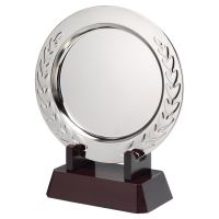 Silver Plated Laurel Salver On Wooden Stand 241mm : New 2020