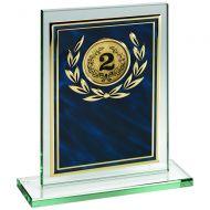 Jade Glass Plaque Blue Gold Aluminium Front Trophy 7in