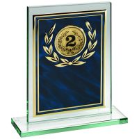 Jade Glass Plaque Blue Gold Aluminium Front Trophy 7in