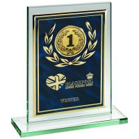 Jade Glass Plaque Blue Gold Aluminium Front Trophy 8in