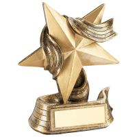 Bronze Gold Gold Star And Ribbon Award Trophy Award - 5.5in