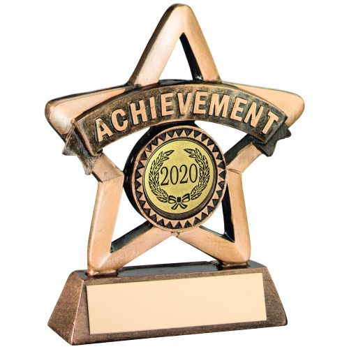 Bronze Gold Resin Achievement Mini Star Trophy 4.25in