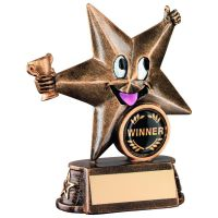 Bronze Gold Resin Generic Comic Star Figure Trophy 5in