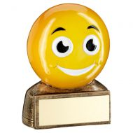 Bronze Yellow Smiling Emoji Figure Trophy 2.75in - New 2019