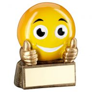 Bronze Yellow Thumbs Up Emoji Figure Trophy 2.75in : New 2019