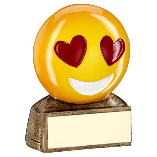Bronze Yellow Red Heart Eyes Emoji Figure Trophy 2.75in - New 2019