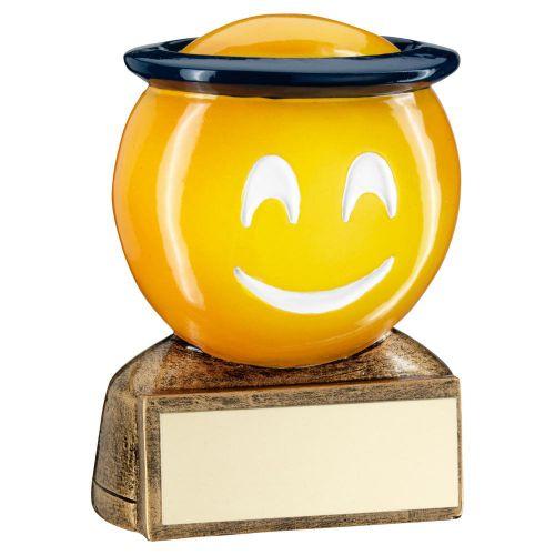 Bronze Yellow Blue Halo Emoji Figure Trophy 2.75in - New 2019