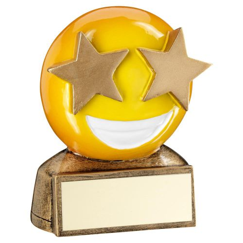 Bronze Yellow Star Eyes Emoji Figure Trophy 2.75in - New 2019
