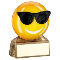 Bronze Yellow Black Sunglasses Emoji Figure Trophy 2.75in - New 2019