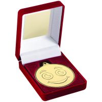 Red Velvet Box And Gold 50mm Medal Smiley Face Trophy 3.5in - New 2019