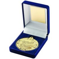 Blue Velvet Box And Gold 50mm Medal Well Done Trophy 3.5in - New 2019