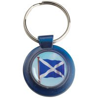 Blue Plastic Keyring Scotl Flag 1.5in
