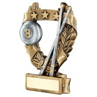 Bronze Pewter Gold Pool Snooker 3 Star Wreath Award Trophy 5in - New 2019