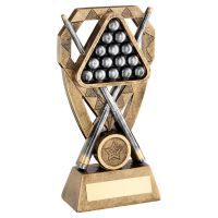 Bronze Pewter Gold Pool Snooker Balls with Cues On Diamond Trophy Award 6in : New 2020