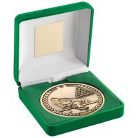 Green Velvet Box And 70mm Medallion Pool|Snooker Trophy - Antique Gold - 4in