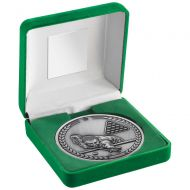Green Velvet Box And 70mm Medallion Pool|Snooker Trophy - Antique Silver - 4in