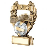 Bronze Pewter Gold Volleyball 3 Star Wreath Award Trophy 7.5in - New 2019