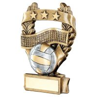 Bronze Pewter Gold Volleyball 3 Star Wreath Award Trophy 5in - New 2019