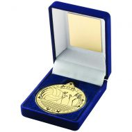 Blue Velvet Box And 50mm Medal Volleyball Trophy Gold 3.5in - New 2019
