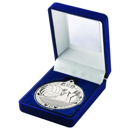 Blue Velvet Box And 50mm Medal Volleyball Trophy Silver 3.5in - New 2019