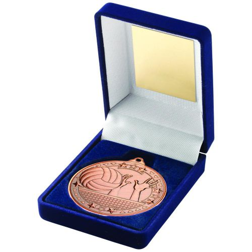 Blue Velvet Box And 50mm Medal Volleyball Trophy Bronze 3.5in - New 2019