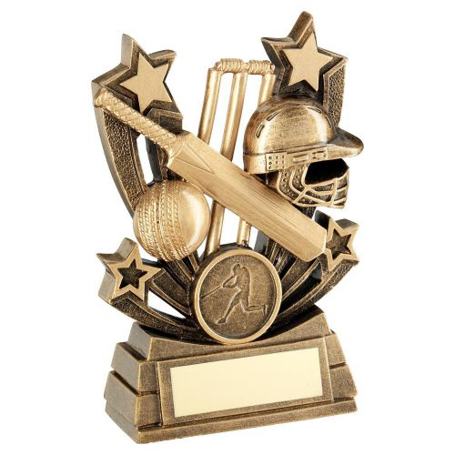 Bronze Gold Shooting Star Series Cricket Trophy Award 6in : New 2020
