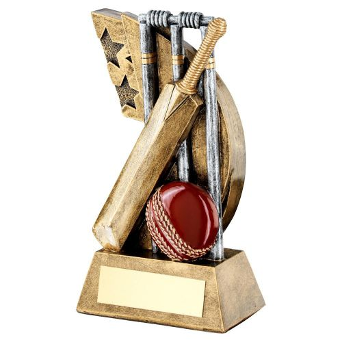 Bronze Pewter Red Cricket Stumps Bat Ball On Star Swoosh Trophy 6.25in - New 2019