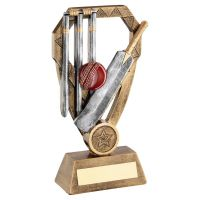 Bronze Pewter Gold Cricket Bat with Ball and Stumps On Diamond Trophy Award 7 : New 2020