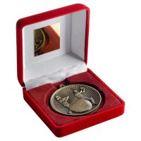 Red Velvet Box And 60mm Medal Cricket Trophy Antique Gold 4in - New 2019