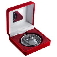 Red Velvet Box And 60mm Medal Cricket Trophy Antique Silver 4in - New 2019